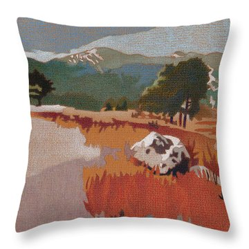 Bergen Peak First Snow Throw Pillow