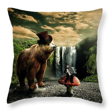 Throw Pillow featuring the digital art Berlin Bear by Nathan Wright