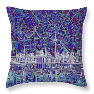 Berlin City Skyline Abstract 3 Throw Pillow by Bekim Art