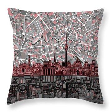 Berlin City Skyline Abstract Throw Pillow by Bekim Art