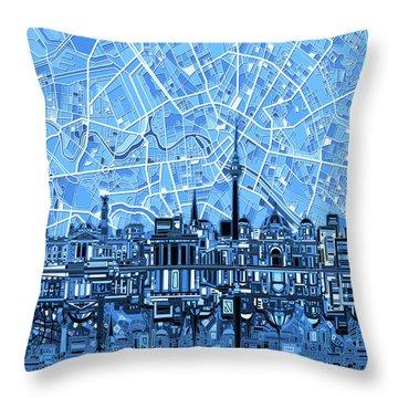 Berlin City Skyline Abstract Blue Throw Pillow by Bekim Art