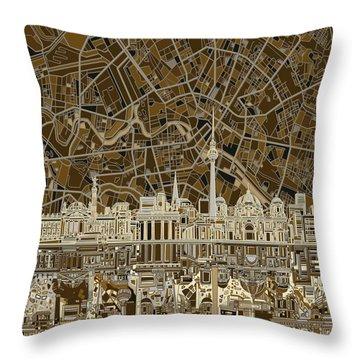 Berlin City Skyline Abstract Brown Throw Pillow by Bekim Art