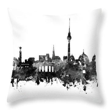 Berlin City Skyline Black And White Throw Pillow by Bekim Art