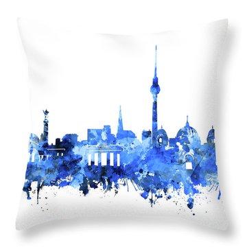 Berlin City Skyline Blue Throw Pillow by Bekim Art