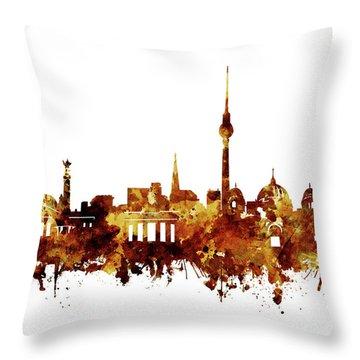Berlin City Skyline Brown Throw Pillow by Bekim Art