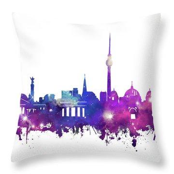 Berlin City Skyline Galaxy Throw Pillow by Bekim Art