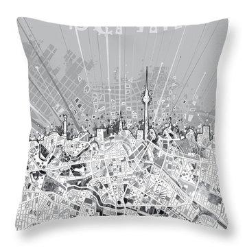 Berlin City Skyline Map 2 Throw Pillow by Bekim Art