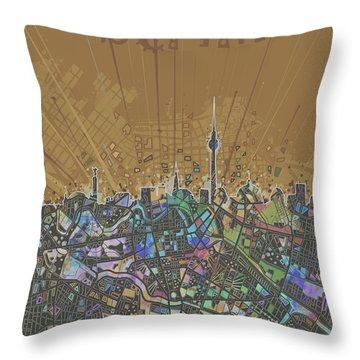 Berlin City Skyline Map 4 Throw Pillow by Bekim Art