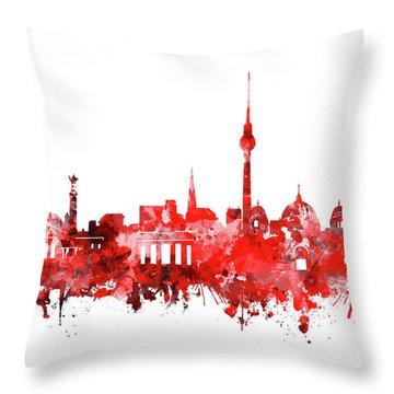 Berlin City Skyline Red Throw Pillow by Bekim Art