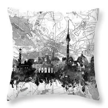 Berlin City Skyline Vintage 2 Throw Pillow by Bekim Art