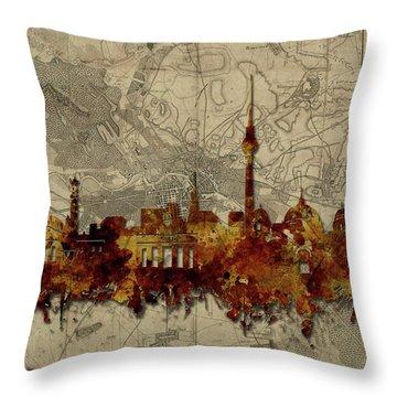 Berlin City Skyline Vintage Throw Pillow by Bekim Art