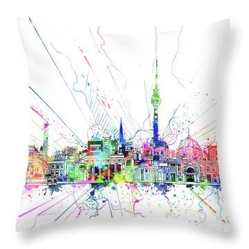 Berlin City Skyline Watercolor 2 Throw Pillow by Bekim Art