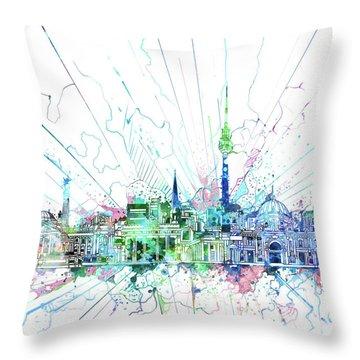 Berlin City Skyline Watercolor 3 Throw Pillow by Bekim Art