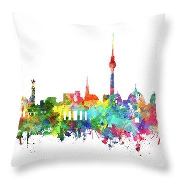 Berlin City Skyline Watercolor Throw Pillow by Bekim Art