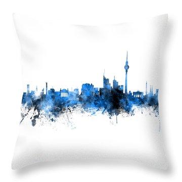 Berlin Germany Skyline Blue Signed Throw Pillow