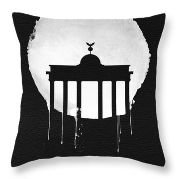 Berlin Landmark Black Throw Pillow by Naxart Studio