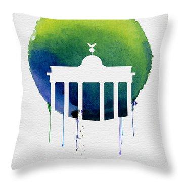 Berlin Landmark Blue Throw Pillow by Naxart Studio
