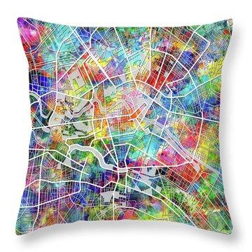 Berlin Map Watercolor Throw Pillow by Bekim Art