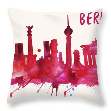 Berlin Skyline Watercolor Poster - Cityscape Painting Artwork Throw Pillow