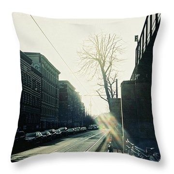 Berlin Street With Sun Throw Pillow