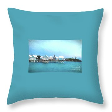 Bermuda Coastal Cabins Throw Pillow