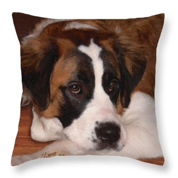 Throw Pillow featuring the painting Bernadette by Doug Kreuger