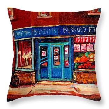 Bernard Fruit And Broomstore Throw Pillow by Carole Spandau