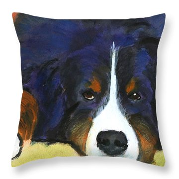 Bernes Mountain Dog Watercolor Dog Print Throw Pillow by Mary Jo Zorad