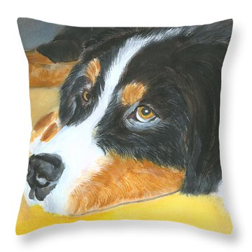 Bernese Mountain Dog Art Print Throw Pillow by Mary Jo Zorad