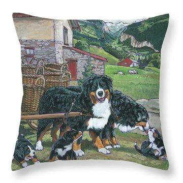Bernese Mountain Dog Throw Pillow by Nadi Spencer