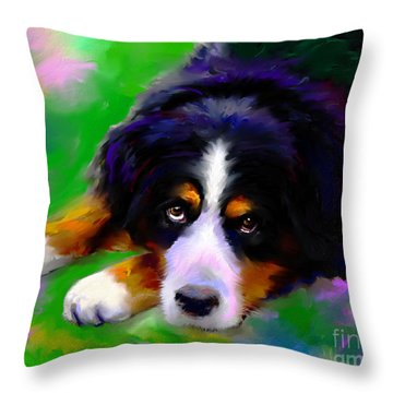 Bernese Mountain Dog Portrait Print Throw Pillow