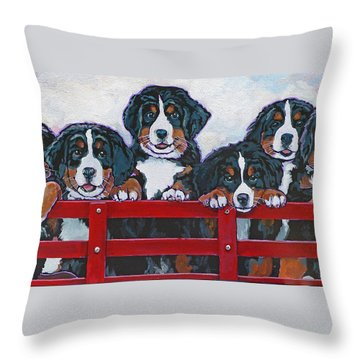 Bernese Mountain Dog Puppies Throw Pillow by Nadi Spencer