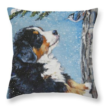 bernese Mountain Dog puppy and nuthatch Throw Pillow by Lee Ann Shepard