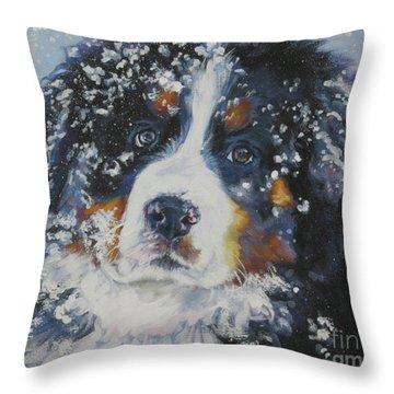 Bernese Mountain Dog Puppy Throw Pillow by Lee Ann Shepard