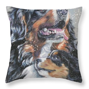 Bernese Mountain Dog With Pup Throw Pillow by Lee Ann Shepard