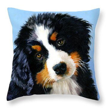 Bernese Mountain Puppy Throw Pillow