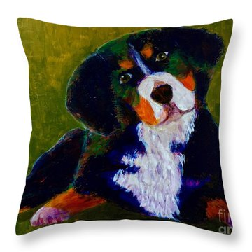 Bernese Mtn Dog Puppy Throw Pillow