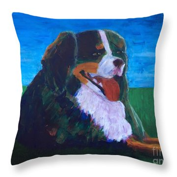Throw Pillow featuring the painting Bernese Mtn Dog Resting On The Grass by Donald J Ryker III