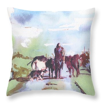 Bernie On The Road Throw Pillow
