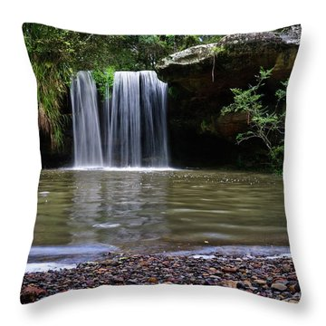 Throw Pillow featuring the photograph Berowra Waterfall by Werner Padarin