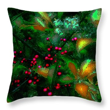 Throw Pillow featuring the photograph Berries by Iowan Stone-Flowers
