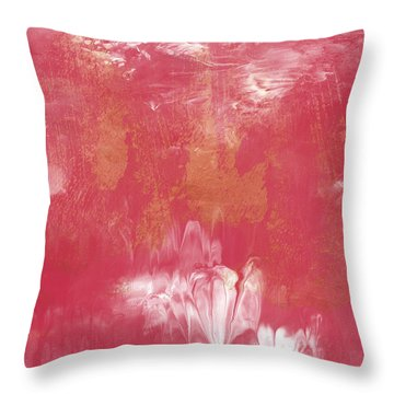 Berry And Gold- Abstract Art By Linda Woods Throw Pillow