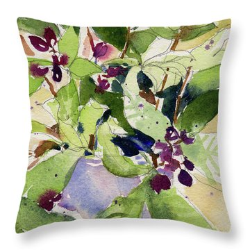 Throw Pillow featuring the painting Berry Bouquet by Kris Parins
