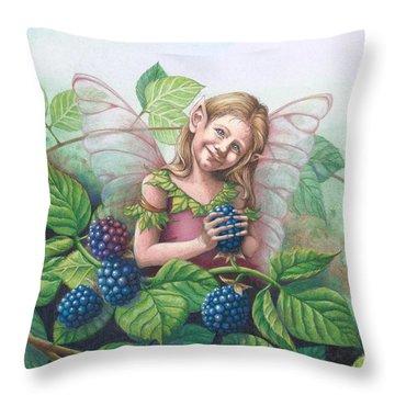 Blackberry Fairie Throw Pillow