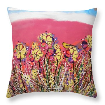 Berry Pink Flower Garden Throw Pillow