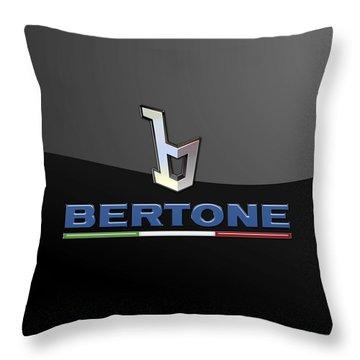 Bertone - 3 D Badge On Black Throw Pillow