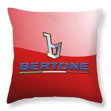 Bertone 3 D Badge On Red Throw Pillow