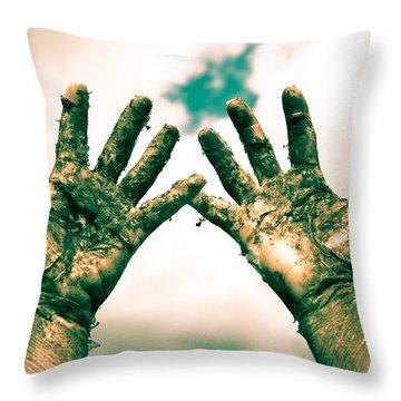 Beseeching Hands Throw Pillow