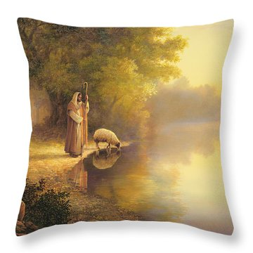 Throw Pillow featuring the painting Beside Still Waters by Greg Olsen