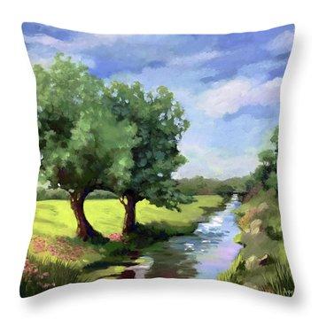 Beside The Creek - Original Rural Landscape  Throw Pillow